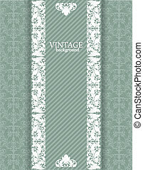 Vintage green background with white filigree borders and seamless pattern