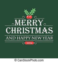 Vintage green Christmas card design