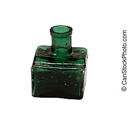 vintage green glass bottle isolated on white