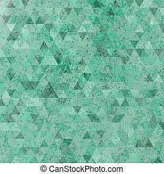 Vintage green grunge triangles abstract background