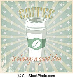 Vintage green poster Coffee cup