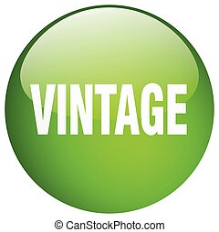 vintage green round gel isolated push button