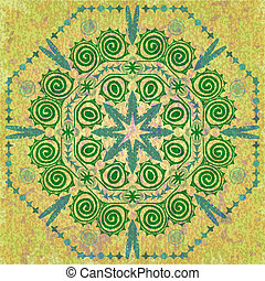 Vintage green seamless pattern of abstract plants
