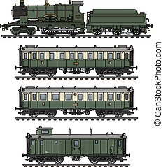 Vintage green steam train