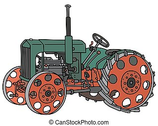 Hand drawing of a vintage green open tractor - not a real type