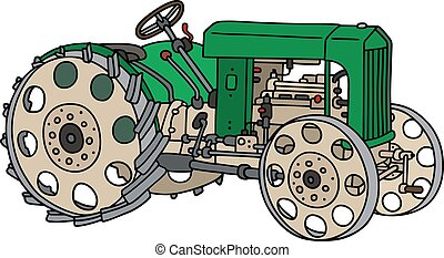 Hand drawing of a vintage green tractor - not a real type