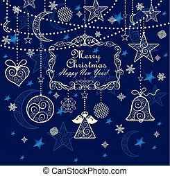 Vintage greeting blue card with golden lacy hanging...