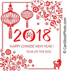 Vintage greeting card for 2018 Chinese New Year with red...