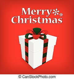 vintage greeting card merry christmas lettering with gift box