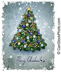 Christmas fir-tree - vintage greeting-card with Christmas ...