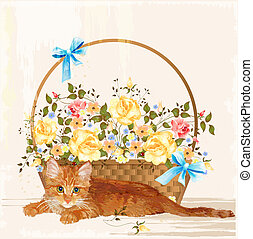 vintage greeting card with ginger  kitten and basket