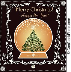 Vintage greeting card with golden globe with Christmas tree and floral decorative border