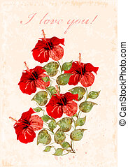 vintage greeting card with hibiscuses