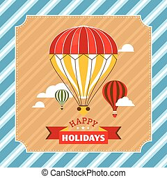 Vintage greeting card with hot air balloons
