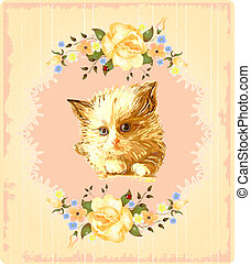 vintage greeting card with kitten and  roses