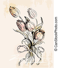 vintage greeting card with tulips
