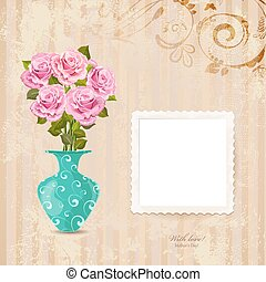 vintage greeting card with vase of roses on a old paper with Ret