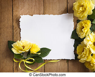 Vintage greeting card with yellow roses