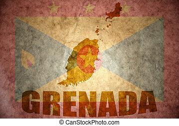 grenada map on a vintage grenada flag background