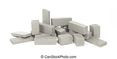 Vintage grey building block isolated on white
