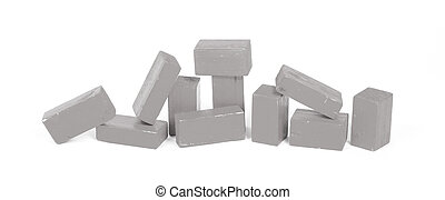 Vintage grey building blocks isolated on white