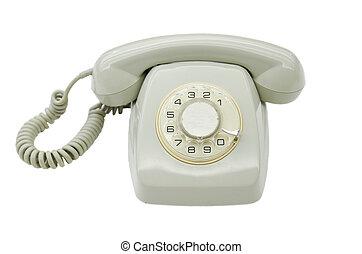 Vintage Grey telephone on white isolated background