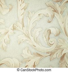 Vintage grey victorian wallpaper with beige baroque vignette...