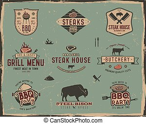 Vintage grill and steak house logo templates. Retro colors...