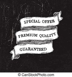 Vintage grunge black and white ribbon template. Vector