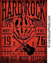 Vintage grunge guitar rock music poster