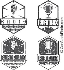 vintage grunge labels of radio with microphone and headphones