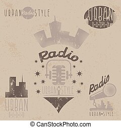 vintage grunge labels of urban radio with microphone and headphones