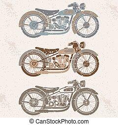 vintage grunge motorcycle set graphic vector design template