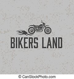 vintage grunge motorcycle with flames graphic vector design template