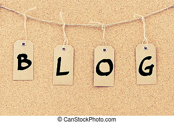 Vintage grunge tags with word BLOG