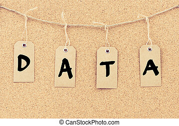 Vintage grunge tags with word DATA