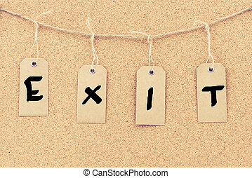 Vintage grunge tags with word EXIT