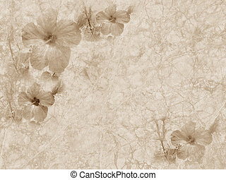 vintage grunge textured paper with floral ornament