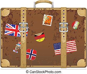 Vintage grunge travel suitcase Vector illustration eps 10...