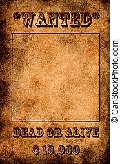 Vintage grunge wanted poster