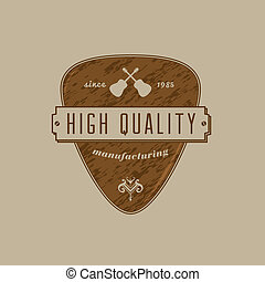Vintage Guitar Pick Crest - Vector Guitar pick emblem with...