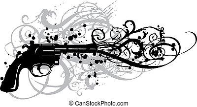 vintage gun, vector - vintage gun with grungy swirls, vector