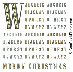 vector vintage halftone alphabet typeset in two solid colors