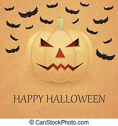 Vintage Halloween background with pumpkin.