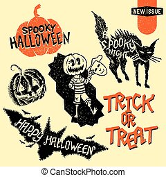 Vintage Halloween Design Elements