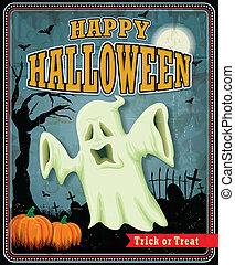 Vintage Halloween ghost poster design