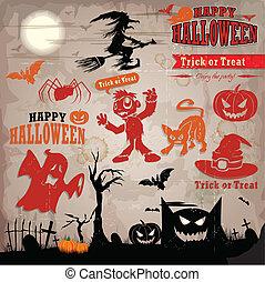 Vintage halloween label design with