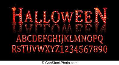Vintage Halloween Original Typeface. Retro Creepy Style...