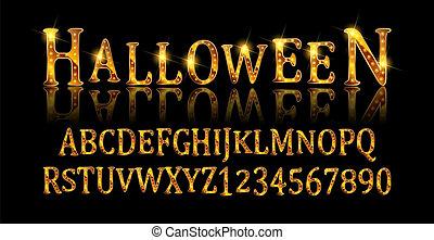 Vintage Halloween Original Typeface. Retro Creepy Style ...