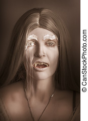 Vintage halloween portrait. Gothic vampire girl